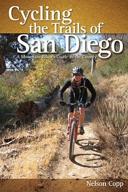 "Graphic cover of ""Cycling the Trails of San Diego: A Mountain Biker's Guide to the County"" by Nelson Copp."