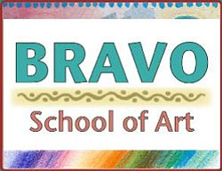 Graphic logo for the Bravo School of Art, located at 2690...