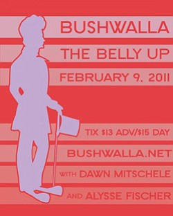 Promotional graphic for the Bushwalla performance at Bell...