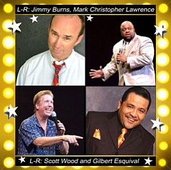 Graphic of Superstars of Cable Comedy (Jimmy Burns, Mark Christopher Lawrence, Scott Wood, & Gilbert Esquival).