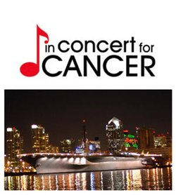 Promotional graphic for In Concert For Cancer, a contemporary jazz concert to benefit research and patient services at Scripps Cancer Center on Friday, March 11, 2011 from 6:30 p.m. to 10 p.m.