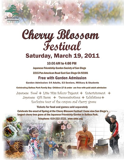 Graphic flyer for the 2011 Cherry Blossom Festival in Balboa Park.