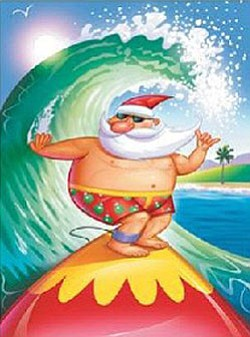 "Graphical logo of Santa on a surfboard in promotion of ""Christmas in July."""