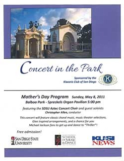 Promotional graphic for the Mother's Day Concert In The Park event, presented by Kiwanis Club of Downtown San Diego, on Sunday, May 8, 2011 at 5 p.m.