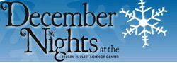 "Graphic logo for ""December Nights"" at Reuben H. Fleet Science Center."