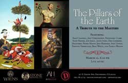 """Promotional graphic for """"The Pillars of the Earth: A Tribute to the Masters"""" featuring the art of Sean Chappell, Jeff Christensen, Nathaniel Clark, Andy Haynes, Jon Jaylo, Jason John, Dan Lydersen, Macsorro, Pedro Matos, Joey Remmers, Ivan Unwin, Timothy Vermeulen, Beau White and Pamela Wilson at Distinction Gallery."""