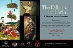 "Promotional graphic for ""The Pillars of the Earth: A Tribute to the Masters"" featuring the art of Sean Chappell, Jeff Christensen, Nathaniel Clark, Andy Haynes, Jon Jaylo, Jason John, Dan Lydersen, Macsorro, Pedro Matos, Joey Remmers, Ivan Unwin, Timothy Vermeulen, Beau White and Pamela Wilson at Distinction Gallery."
