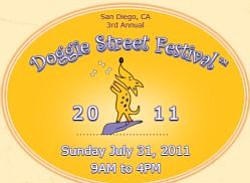 Promotional graphic for the Doggie Street Festival casting call on Sunday, April 3rd, 2011 from 7:30 a.m. - noon at NTC Promenade, Liberty Station.