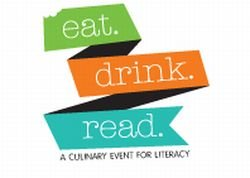 Promotional graphic for Eat.Drink.Read., a culinary event for literacy