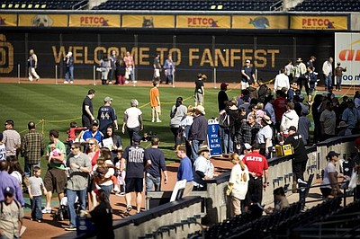 Image of fans at the 2010 FanFest at PETCO Park, where more than 12,000 Padres fans came out for the festivities.