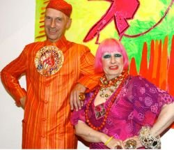 Promotional photo of Zandra Rhodes and Andrew Logan.