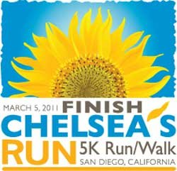 Graphic logo for the Finish Chelsea's Run 5K Run/Walk on March 5, 2011.