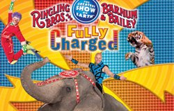 "Promotional graphic for ""Fully Charged,"" the all-new surge of circus entertainment from Ringling Bros. and Barnum & Bailey, July 14-17, 2011 at Valley View Casino Center."