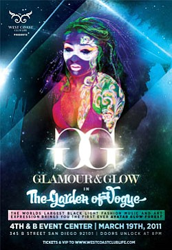 Poster for the world's largest black light fashion, music, and art expression, Glamour and Glow in the Garden of Vogue.