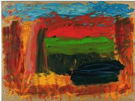 "The painting ""Home, Home on the Range"" by Howard Hodgkin. Materials: Oil on wood."