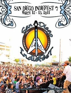 Promotional graphic for San Diego IndieFest 7, Saturday & Sunday, March 12 & 13, 2011, at NTC Promenade, at Liberty Station in Point Loma.