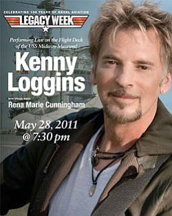 Graphic poster for the Kenny Loggins performance of the Flight Deck of the USS Midway Museum at the 2011 American Freedom Festival.