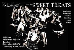 "Promotional Graphic of a bit o' Burlesque ""Sweet Treats."""