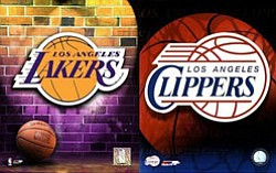 Promotional graphic for the Los Angeles Lakers vs. Los Angeles Clippers on October 25th, 2011 at Valley View Casino Center.