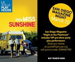 "Promotional graphic for San Diego Magazines event featuring the La Jolla Playhouse's production ""Little Miss Sunshine."""