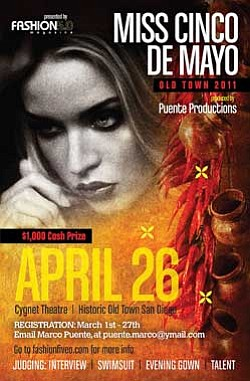 Promotional graphic for the Miss Cinco de Mayo Old Town P...
