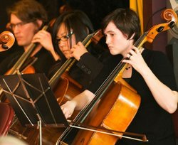 Image of members of the Notre Temps String Ensemble performing at their Spring Concert in 2010.