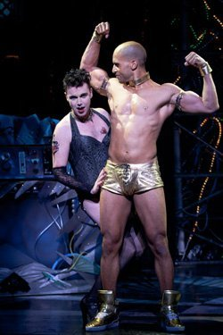 """(from left) Matt McGrath as Frank 'N' Furter and Sydney James Harcourt as Rocky in Richard O'Brien's """"The Rocky Horror Show,"""" directed by James Vasquez, Sept. 15 - Nov. 6, 2011 at The Old Globe. Photo by Henry DiRocco."""