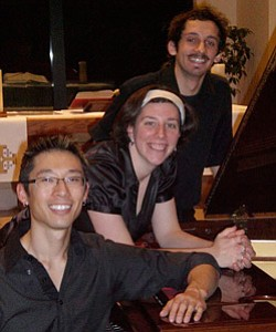 Promotional photo of the Orvieto Piano Trio: Dr. Byron Chow (at piano), violinist Lauren Basney and cellist Daniel Frankhuizen.