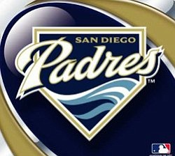 Graphic image of the San Diego Padres logo, trademark MLB.