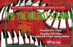 "Promotional graphic for ""Tis the Holiday Season,"" presented by RB Chorale with special guest Pat Bean."
