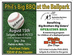Promotional graphic for the 3rd annual Phil's BIG BBQ at the Ballpark on August 15, 2011, benefiting Big Brothers, Big Sisters of San Diego County.