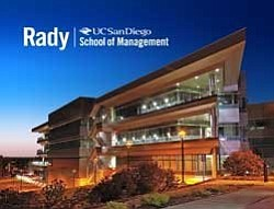 Exterior photo of the Rady School of Management, UC San D...