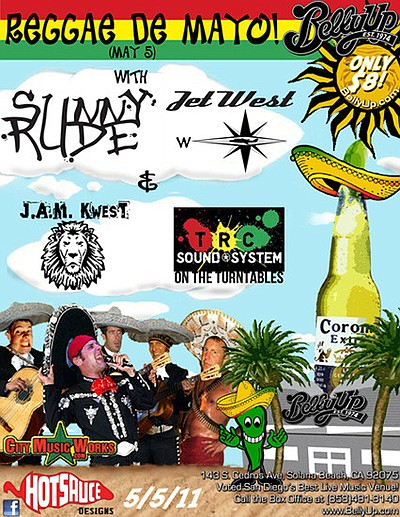 Graphic poster for the Reggae De Mayo show at Belly Up Tavern on May 5, 2011.