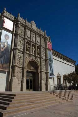 Exterior photo of the San Diego Museum of Art, located at 1450 El Prado, Balboa Park, San Diego, CA.