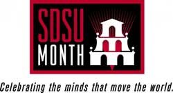 "Graphic logo for SDSU Month - ""Creating the minds that move the world"""