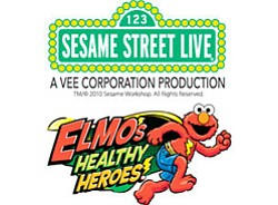 "Promotional graphic for ""Sesame Street Live: Elmo's Healthy Heroes."""