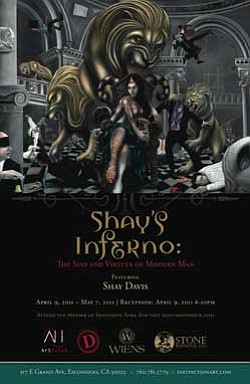 "Promotional graphic for a compelling new show featuring the art of Shay Davis entitled ""Shay's Inferno: The Sins and Virtues of Modern Man,"" presented by Distinction Gallery and ArtHatch."