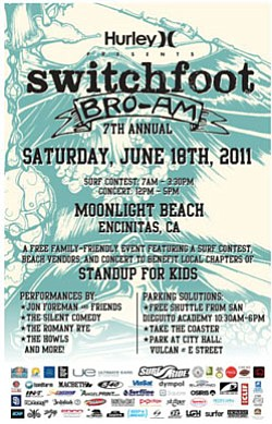 Promotional flyer for Switchfoot's Bro-Am 2011.