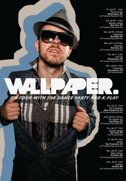 Graphic poster for Wallpaper's US tour with The Dance Party and K. Flay.