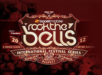 "Promotional graphic for the ""Rock the Bells"" music tour, featuring Bone Thugs N Harmony at the 4th & B on October 27th, 2012."