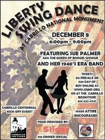 Promotional graphic for the 1940s Liberty Swing Dance at ...