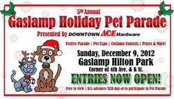 Promotional graphic for the Gaslamp Holiday Pet Parade, on Sunday, December 9, 2012. Courtesy of Gaslamp Quarter, San Diego, CA.