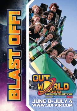 Promotional graphic for the 2012 San Diego County Fair, June 8-July 4th, sdfair.com