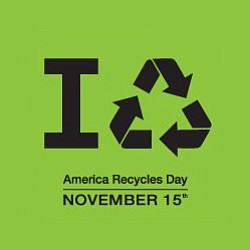 Promotional graphic for the America Recycles Day on November 15th, 2012.