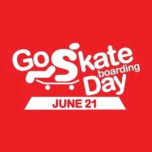 Promotional graphic for the 'Go Skateboarding Day' at the Museum of Man on June 21st.