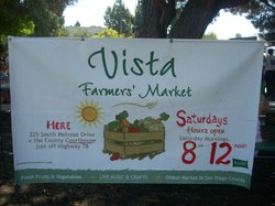 Promotional graphic for the Vista Certified Farmers' Market every Saturday from 8am-noon.