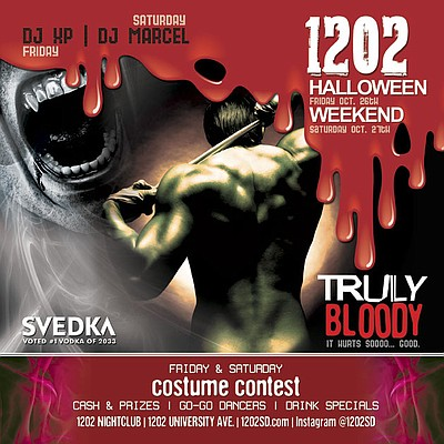 "Promotional graphic for the ""Truly Bloody"" Halloween Weekend at 1202 located in Hillcrest."