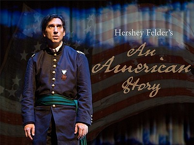 Promotional graphic for An American Story By Hershey Feld...