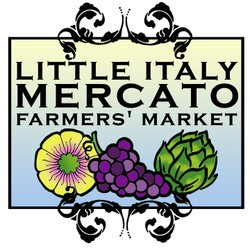 Promotional graphic for the Little Italy Mercato Certified Farmers Market, Saturdays from 8am-2pm.
