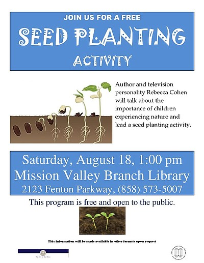 Promotional graphic for the Seed Planting Activity at the Mission Valley Branch Library on August 18th.